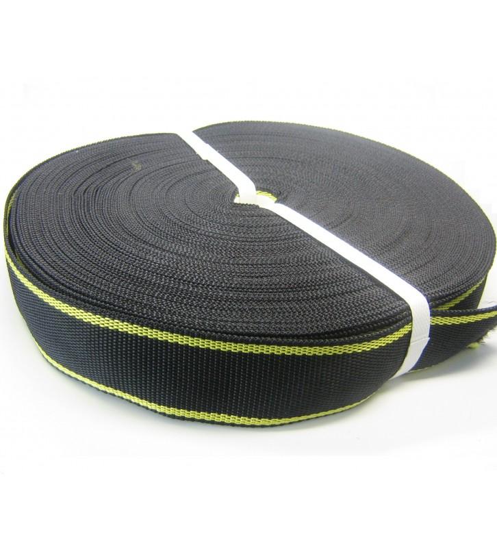 Los band 50 mm zwart-geel (50 meter)