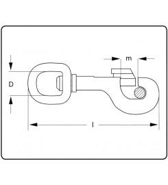 Musketonhaak messing rechthoekig 75 mm