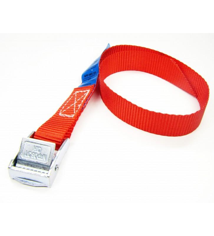 Spanbandje 20 mm rood met klemsluiting, 0.4 meter.