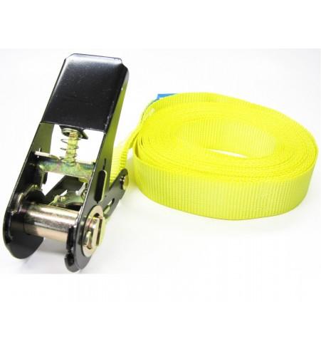 Eindloze spanband 25 mm geel - 5 meter
