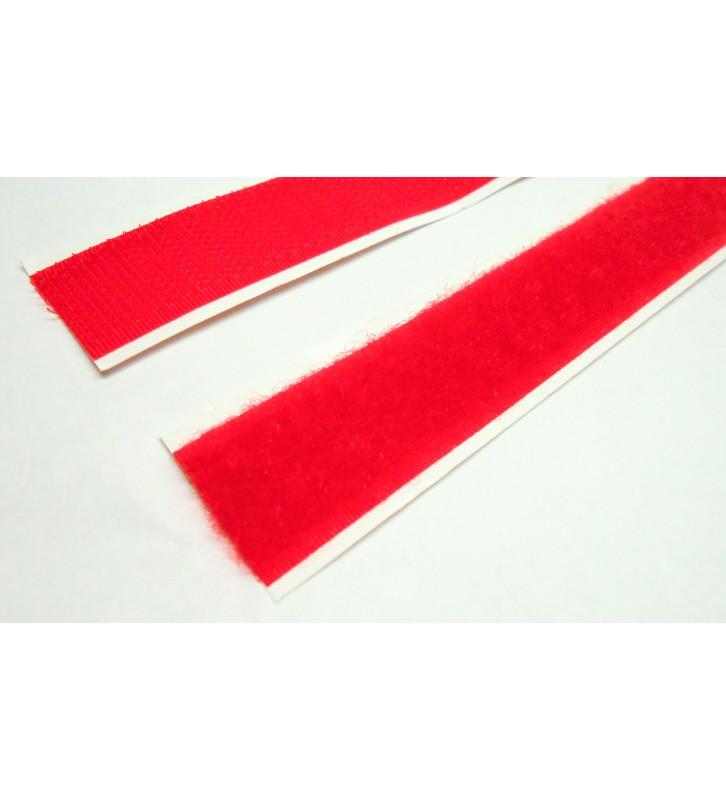 Rood klittenband haak - lus per 25 meter - 20 mm