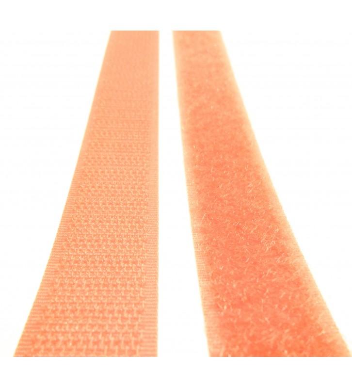 Oranje klittenband haak - lus per 25 meter - 20 mm