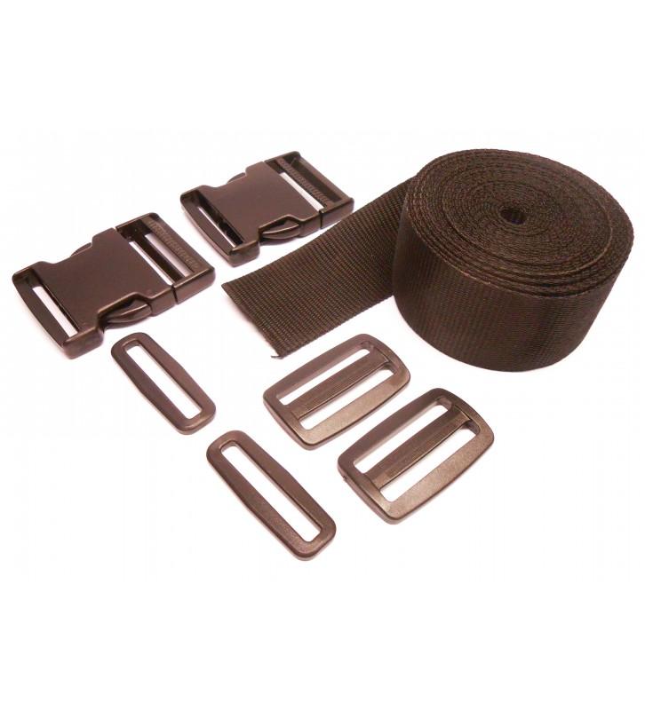 Set band en gespen 25 mm zwart