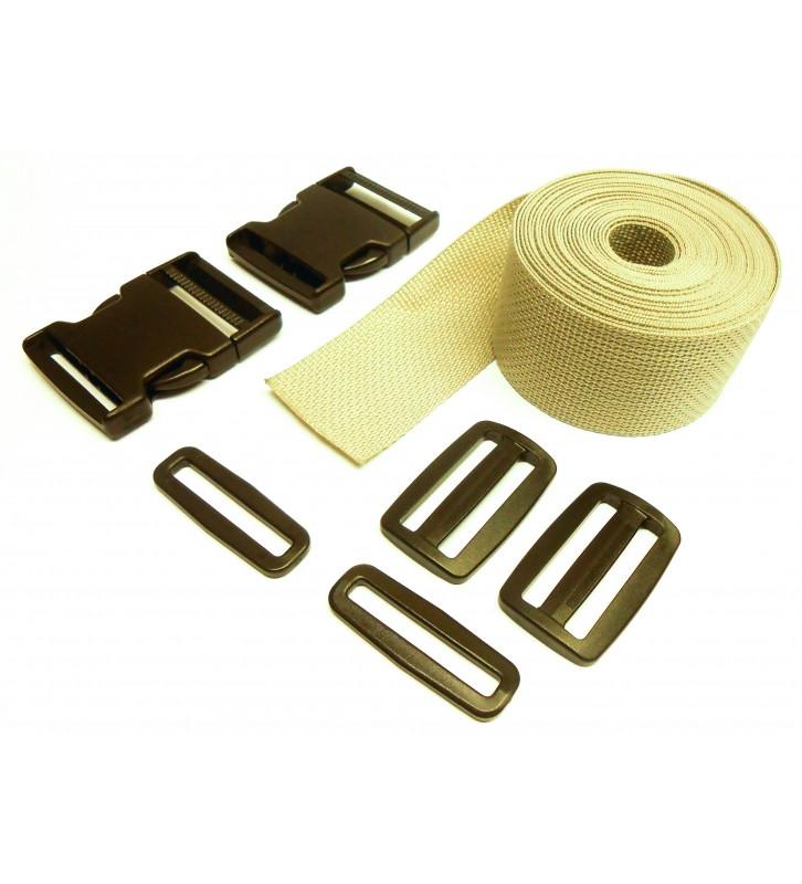 Set band en gespen 25 mm grijs