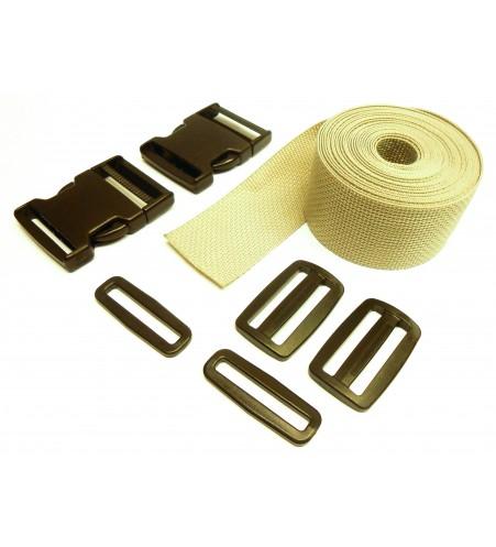 Complete set band en gespen 25 mm grijs