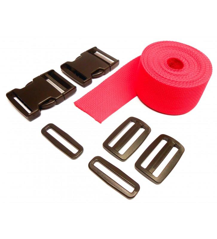 Set band en gespen 25 mm rood