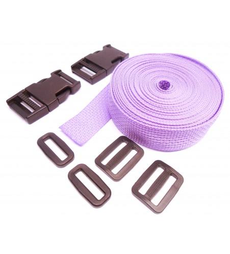 Complete set band en gespen 25 mm lila