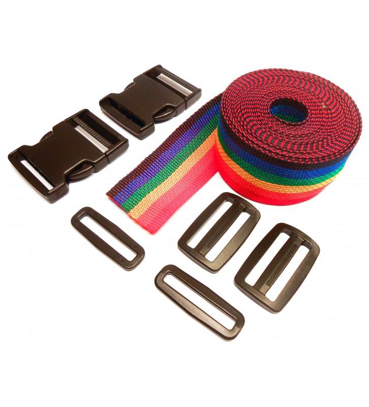 Complete set band en gespen 50 mm regenboogkleurig