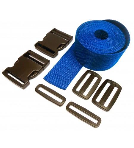 Complete set band en gespen 50 mm blauw