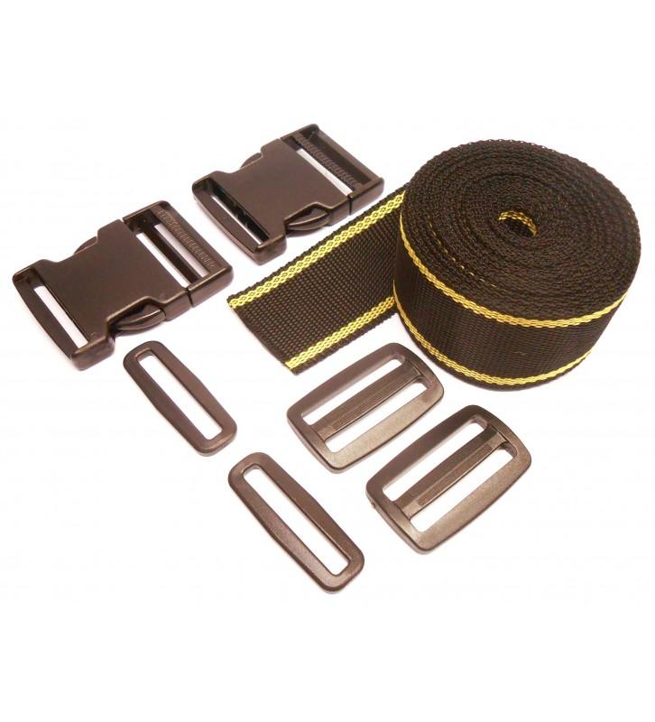 Complete set band en gespen 50 mm zwart-geel