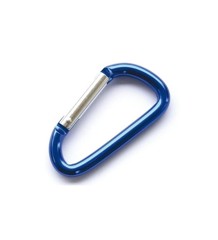 Aluminium karabijnhaak blauw 80 mm