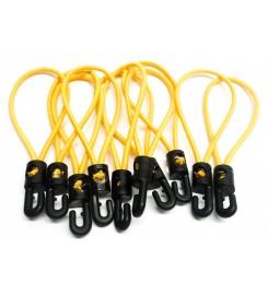 Set 10 x spanrubber geel 150 - 250 mm met haak