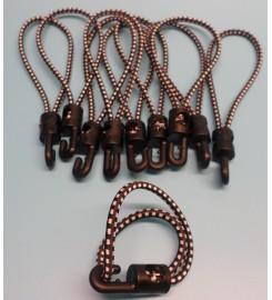 Set 10 x spanrubber zwart-wit 200 - 380 mm - 4 mm met haak