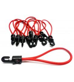 Set 10 x spanrubber rood 200 - 380 mm - 4 mm met haak