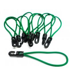Set 10 x spanrubber groen 200 - 380 mm - 4 mm met haak
