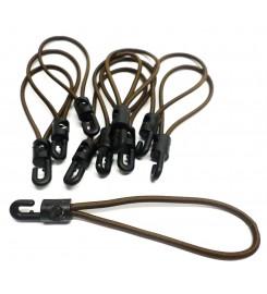 Set 10 x spanrubber bruin 200 - 380 mm - 4 mm met haak
