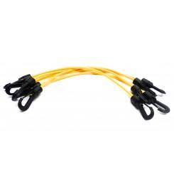 Set 10 x spanrubber geel 410 - 720 mm - 4 mm met twee haken