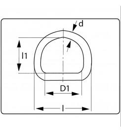 D-ring 25 mm vernikkeld tekening