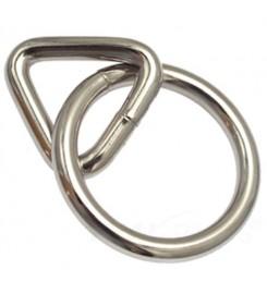 Ring met triangel 40 mm - 25 mm - Vernikkeld