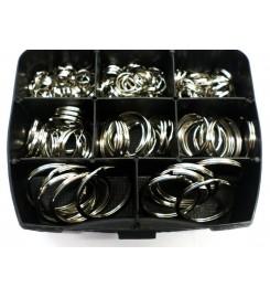 Sleutelringen assortimentsbox - 175 vernikkelde sleutelringen